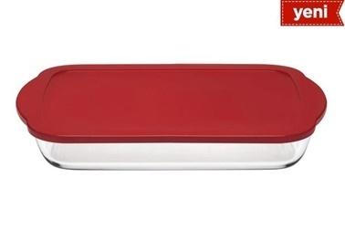 Paşabahçe Borcam Kırmızı Kapaklı Dikdörtgen Saklama Kabı Kırmızı